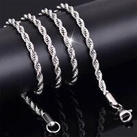 2- 4mm Mode 925 Solide Silber Twist Seil Halskette Hochzeit Schmuck 42cm DE