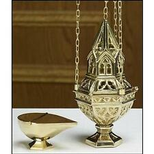 Brass Ornate Incense Censer Four Chains