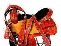 15 16 WESTERN SADDLE BARREL RACING HORSE PLEASURE TRAIL USED TOOLED LEATHER TACK