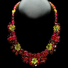 """REAL RED PINK RUBY, EMERALD & SAPPHIRE 925 STERLING SILVER 15.5"""" NECKLACE"""