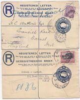 1925/8 2 x SIZE G SMALL POSTAL STATy REGd ENVs SOUTH AFRICA BEDFORD JOHANNESBURG
