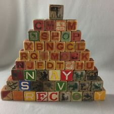 Lot of 55 Old Vintage Wood Childrens Blocks Letters Pictures