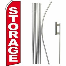 Storage Red / White Swooper Flag & 16ft Flagpole Kit/Ground Spike