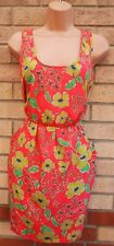 ASOS SILKY FEEL PINK YELLOW FLORAL SLEEVELESS TULIP A LINE MINI SUMMER DRESS 10