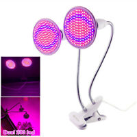 Dual Head 200 Led Flower Plant Grow Light Desk Kit indoor Greenhouse hydro Clip