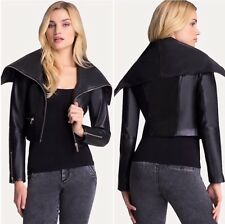 BEBE 100% Genuine Real Leather Maleece Wide Collar Moto Jacket Coat Sz S $329