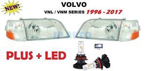 1998-2017 VOLVO VNL 300 Series Daycab Headlights Corner lamps w/LED - 4PC SET