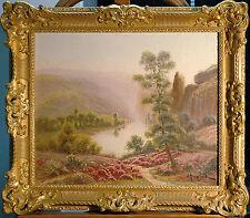 Gaston Anglade 1854-1919: Flußtal blühende Heide / Bruyères Ölgemälde 46 x 55 cm