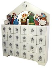 Wood Christmas Nativity Advent Calendar, 12 3/4 Inch