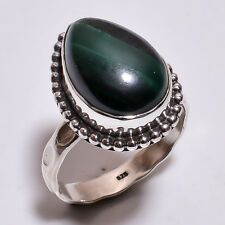925 Sterling Silver Ring Size US 6, Natural Malachite Handcrafted Jewelry R3898