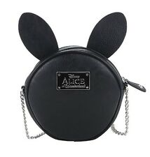 ALICE IN WONDERLAND BLACK RABBIT PU CLOCK CROSSBODY BAG PURSE DISNEY NWT NEW