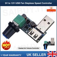 5V to 12V USB Fan Stepless Speed Controller Regulator Variable Switch Module UK