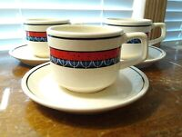 Set Of Three Lenox Temperware Red And Blue Staccato Cup And Saucer Sets