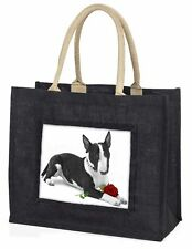 Bull Terrier Dog with Red Rose Large Black Shopping Bag Christmas , AD-BUT2R2BLB