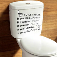 Removable Toilet Rules Sticker Vinyl Art Decal Restroom Decor Sticky Note Useful