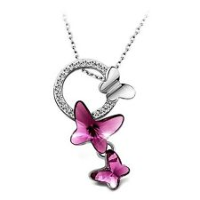 Necklace Pendant Love Crystal Butterfly WOMEN LADY WIFE GIRLFRIEND BIRTHDAY