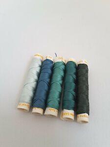 5 x VINTAGE SANSON BLUE & GREEN 100% SILK SEWING THREAD - 10 metres each