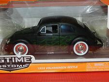Jada 1/24 1959 Volkswagen Beetle Black With Flames Big Time Kustoms MIB