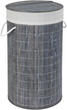 Bamboo Grey basket with laundry bag, 35 x 35 x 60 cm Wenko