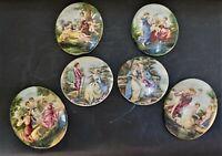 6 Antique French Painted Romantic Scene Porcelain Plaques