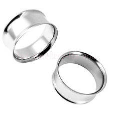 2 x Flesh Tunnel Double Flared Stainless Steel Ear Plug Pair Silver Gold Black