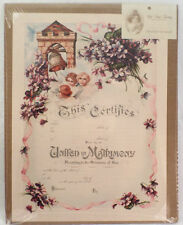 Turn Of The Century Wedding Certificate Marriage Old Print Factory #Crt005