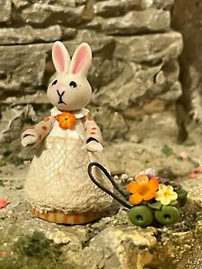 Vintage Miniature Dollhouse Artisan Sculpted Clay Lady Bunny Flowers 1:48 Italy