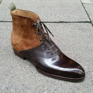 New Handmade Ankle High,Two Tone Suede & Leather Boots,Brown Leather Formal Shoe