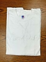 Vintage 90s Russell Athletic Embroidered Shirt Sz XL All White Sports Logo