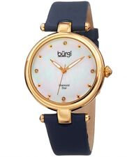 Ladies Designer BURGI Mother of Pearl Diamond Dial Genuine Leather Strap BUR169