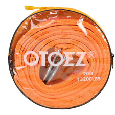 """Heavy Duty Recovery Tow Strap with Hooks 13,000 Lb Capacity 2"""" X 20' Orange Rope"""
