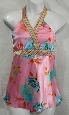 Juniors Size L 10/12 Pink Satin Floral Halter Top by Mary-Kate and Ashley