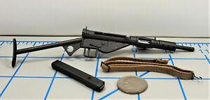 MINIATURE BRITISH COMMANDO SAS WWII STEN GUN WITH REMOVABLE MAGAZINE 1/6 SCALE