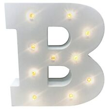 LED Wooden Letters Alphabet Sign Numbers Light up Wood Decorative White Standing B