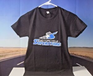 T-Shirt Motorcycle Superstore Women's SM Small Child Black Blue Premium Logo O1