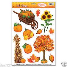 1 Sheet THANKSGIVING FALL Party Decoration WINDOW CLINGS Tree Wheelbarrow