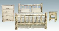 Log Bedroom Set Amish Made Queen Bed Frame 4 Drawer Dresser and Nightstand
