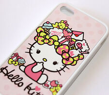 for iPhone 4 4S Pink Hello Kitty Desserts Candy Hard TPU Rubber Gummy Case Cover