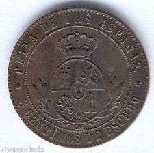 Isabel II 5 Centimos de Escudo 1867 Barcelona @@ Excelente @@