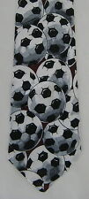 Renaissance Mens Neck Tie Necktie Soccer Balls White Black Gray Burgundy Red