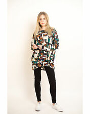 Lady multi color stripe square floral tile print cotton oversize jumper top