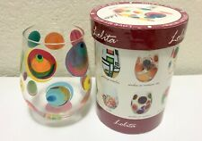 LOLITA Circles in Motion Stemless Wine Fantasy Glass Set w/Gift Box