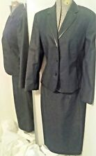 Evan Picone Stretch 2 Piece Lined Blue Jacket & Skirt w/ Piping Sz 10