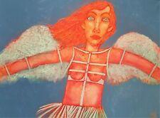Neu! Original 80cm x 60cm acrylic paint on canvas Engel  LARYSA MENSHYKOVA