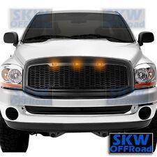 06-08 Dodge RAM Truck Raptor Style Matte Black Mesh Grille+Shell+3x Amber LED