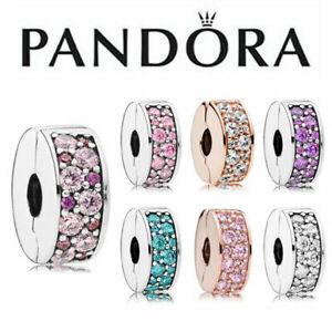 Genuine Pandora Timeless Clear Clip Charm Silver Pavé S925 ALE Pouch Gift