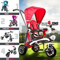RiiRoo 4 In 1 Kids Children Trike Tricycle 3 Wheel Ride Bike Parent Handle Bar