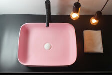 Ceramic Wash Basin Countertop Bathroom Sinks With Drainer Matte Pink