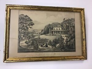 """Original Currier & Ives 1862 Lithograph """"Life In The Country"""" Evening"""