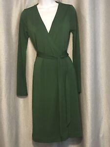 NWT! Ann Taylor Wrap Around Dress Green Polyester Size 2